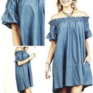 Umgee Dark Wash Chambray Off-Shoulder Dress